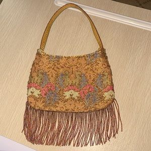 Beaded floral evening bag with beaded fringe